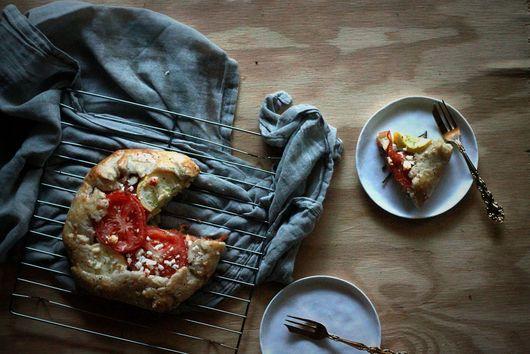 Vine Tomato and Summer Squash Galette with Rosemary-Pea Pesto
