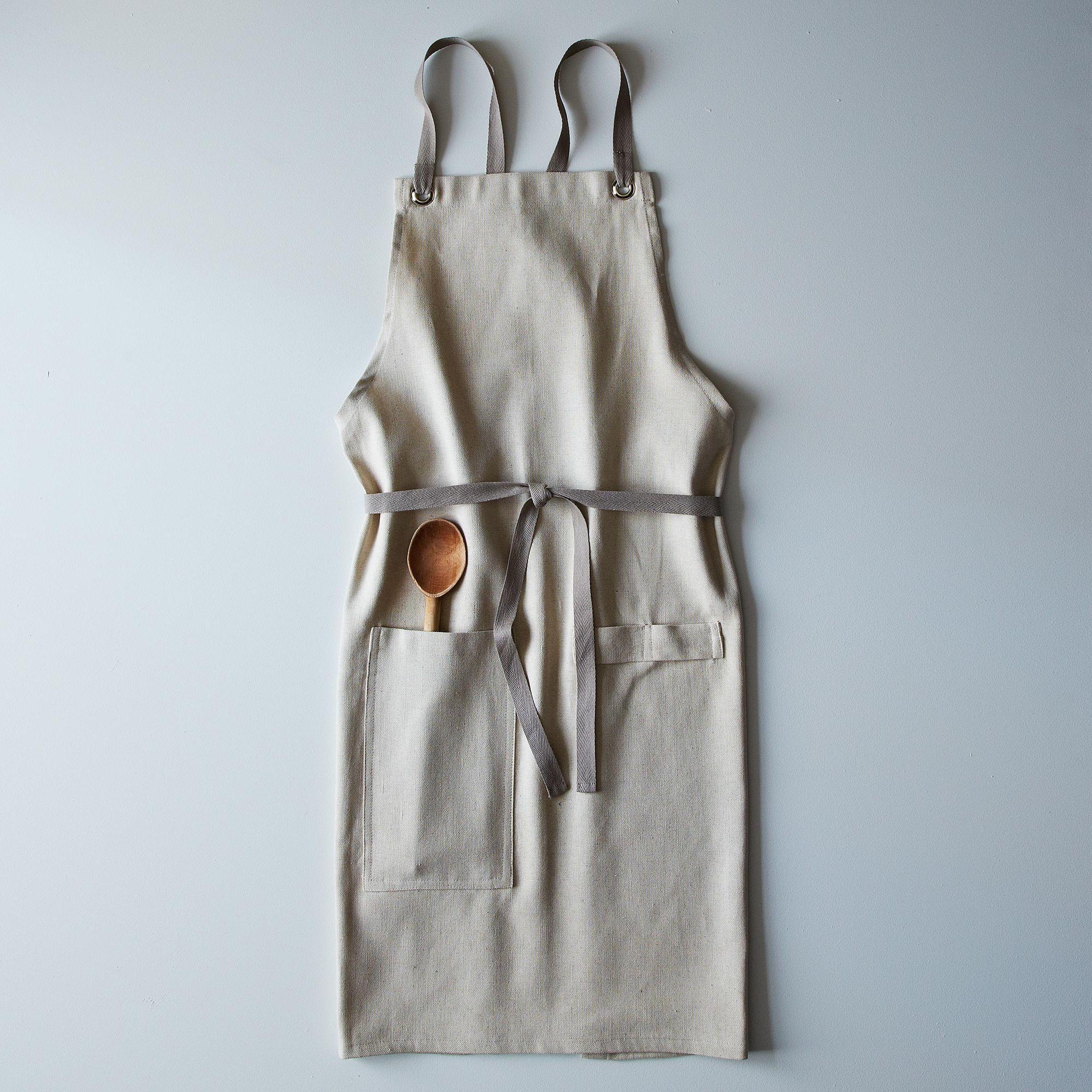Cross-Back Linen Kitchen Apron with Slate Ties on Food52