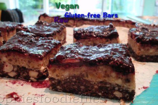 Raw Vegan Gluten-Free Blackberry Caramel Nougat Bars