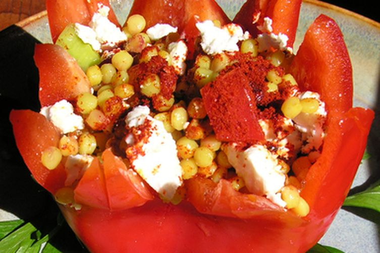 Fresh stuffed red pepper shells with pearl couscous, forbidden rice, kamut or red quinoa