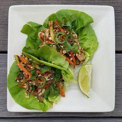 Peanut Tofu Lettuce Wraps
