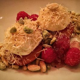 Peach-Raspberry Dolma with White Chocolate and Candied Nuts