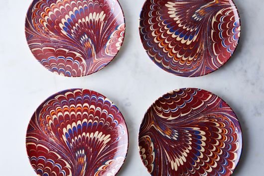 Ebru Print Melamine Plates (Set of 4)