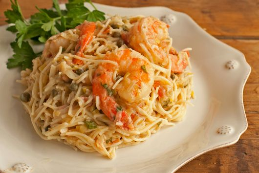 Shrimp Capellini with Gorgonzola-Garlic Butter Sauce