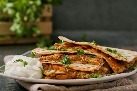 Spicy BBQ chicken quesadillas