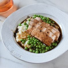 Pan Seared Pork Chops with Red Eye Gravy, Buttered Peas and Grits