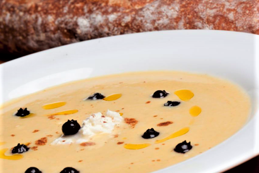 Golden Squash Bisque with Pickled Blueberries