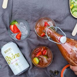 Strawberry Pimm's Cup with Gordy's Fine Brine