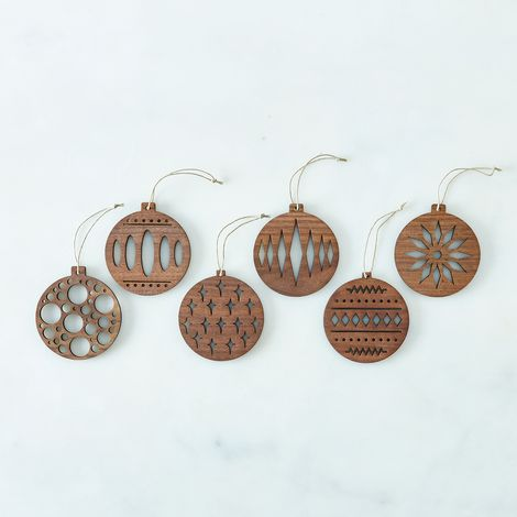 Laser-Cut Walnut Ornaments