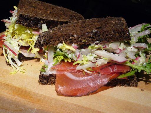 Speck, Frisée, Onion, Radish Butter Sandwich