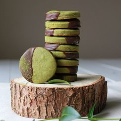 Chocolate dipped matcha shortbread cookies