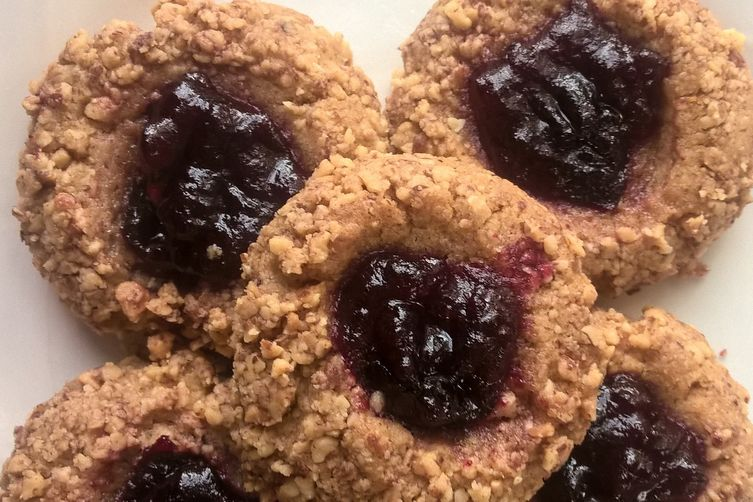Almond Butter and Orange Thumbprints with Cranberry Preserves