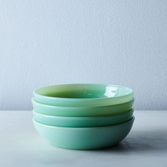 Jadeite Glass Shallow Bowls (Set of 4)