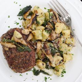 Pepper Crusted Filets with Ricotta Gnocchi, Shiitakes & Brown Butter Sage Sauce