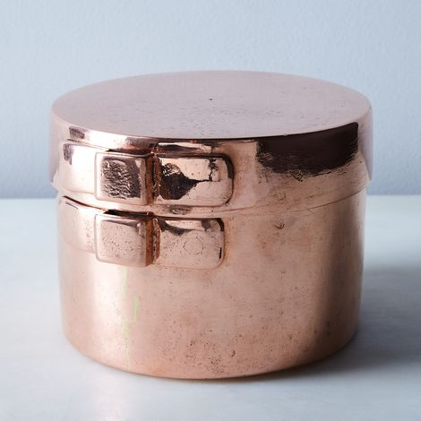 Vintage Copper French Mold with Lid, Late 19th Century