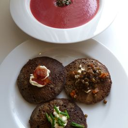 Beet Vishyssoise and Buckwheat Blini