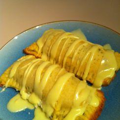 Meyer lemon basil tarts w/ lemon curd cream cheese filling