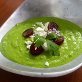 Chilled Fresh Pea Soup with Red Grapes and Chevre