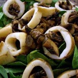 Teriyaki Mushroom - Stuffed Squid On A Bed Of Baby Spinach