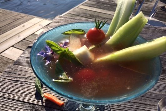 Tomato Chili Gimlet with Pickled Peas and Assorted Salad Material