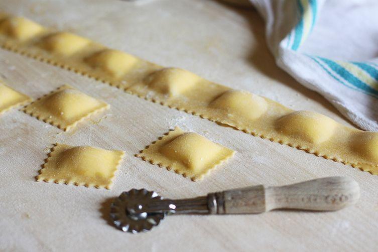 Making ravioli.