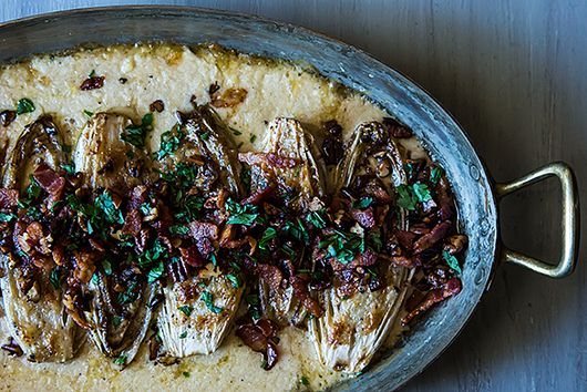 Cream-Baked Endive with Bacon and Pecans