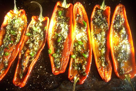 Roasted red peppers with herbs and anchovies