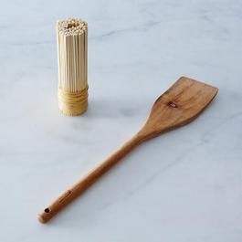 Bamboo Pot Scrubber and Acacia Wood Paddle Bundle