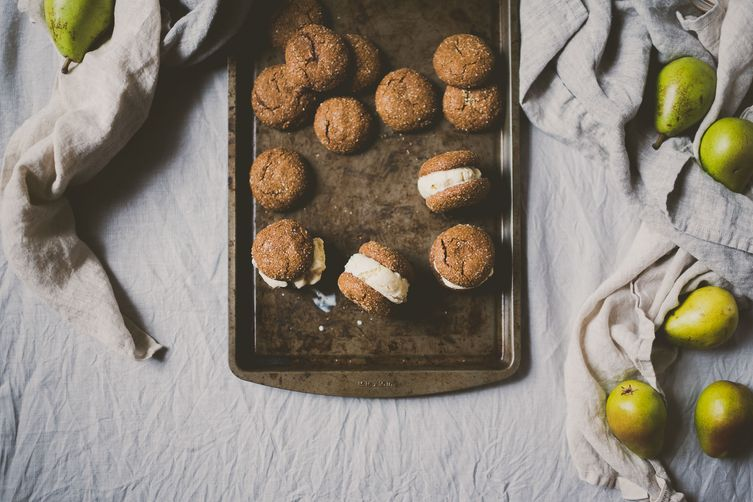 Spiced Maple-Roasted Pear Ice Cream Sandwiches