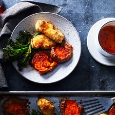 Chicken Fingers With Sweet Potatoes, Broccolini, and Hot Honey