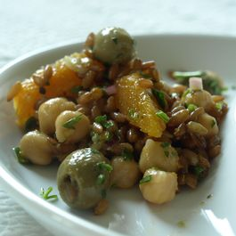 Cumin Infused Olives in Rye Garbanzo Bean Salad with Oranges