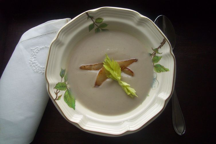 Celery root (celeriac), pear and chestnut soup