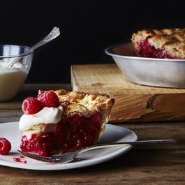 Raspberry Pie with Eggnog Whipped Cream
