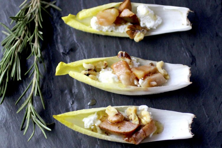 Author Notes: A snack bite endive with pear, walnut + goat cheese. The ...