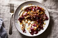Seared Mushrooms, Radicchio & Fregola with Whipped Ricotta