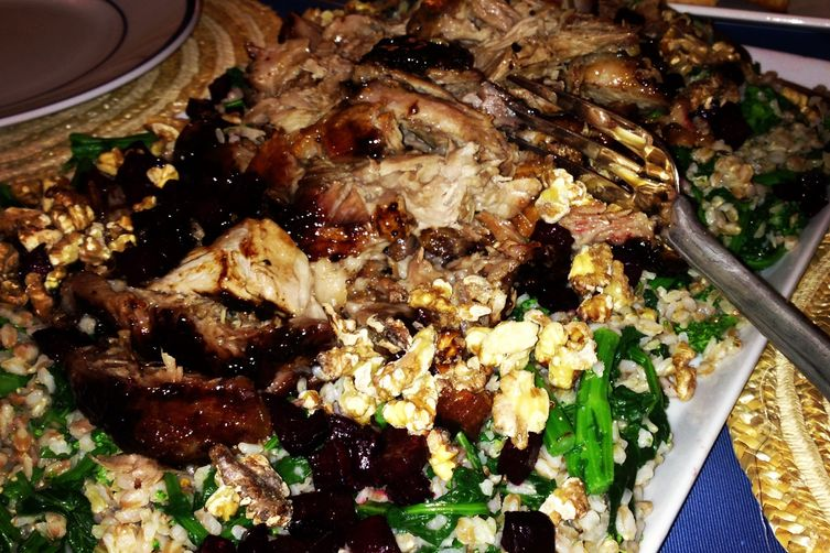 Balsamic Glazed Pork with Grains and Greens