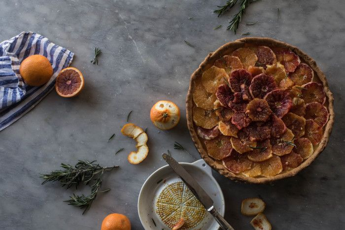 Blood orange and rosemary tart.