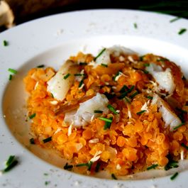 Red Lentils with Smoked Halibut, Lemon and Horseradish