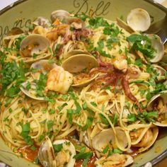 Linguini with Chorizo, Clams, Shrimp and Calamari