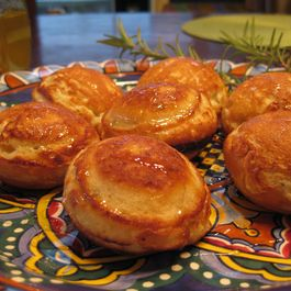 Ebelskivers with pecorino and honey