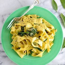 Acorn Squash and Blue Cheese Pasta with Spinach