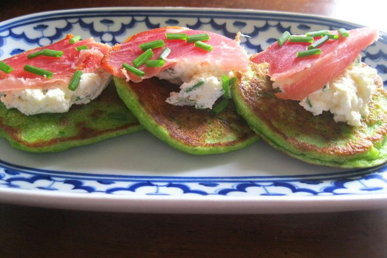 Pea Pancakes with Herbed Feta Cream and Cured Ham