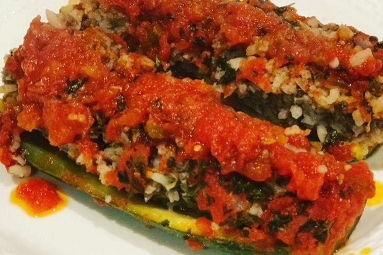 Lamb & Rice Stuffed Zucchini