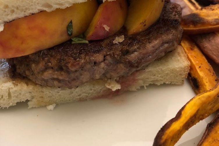 Grilled peach lamb burgers