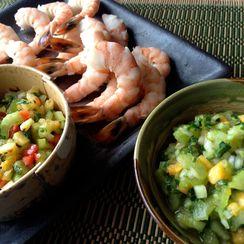 Celery Salsa 2 4 1: Spicy Pineapple & Mild Papaya on Steamed Shrimp or Tofu