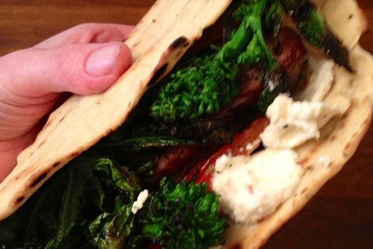 Flatbread Sandwich with Sausage, Broccoli Rabe, and Lemon-Chili Ricotta