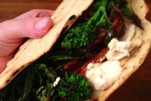 Flatbread Sandwich with Sausage, Broccoli Rabe, and Lemon-Chili Ricotta
