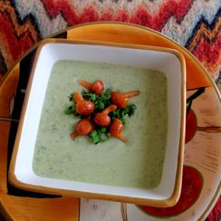 Sorrel Soup, Served with Spring Onions and Prickly Mushroom Relish