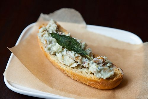 Walnut-Sage Gorgonzola Crostini