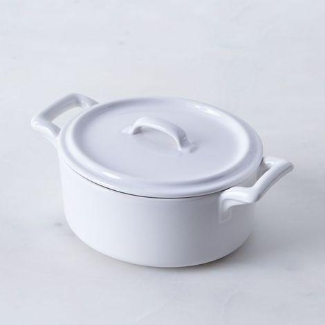 French Porcelain Oval Cocotte, 0.49 QT